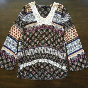 about a girl Boho Peasant Print Long Sleeve Blouse